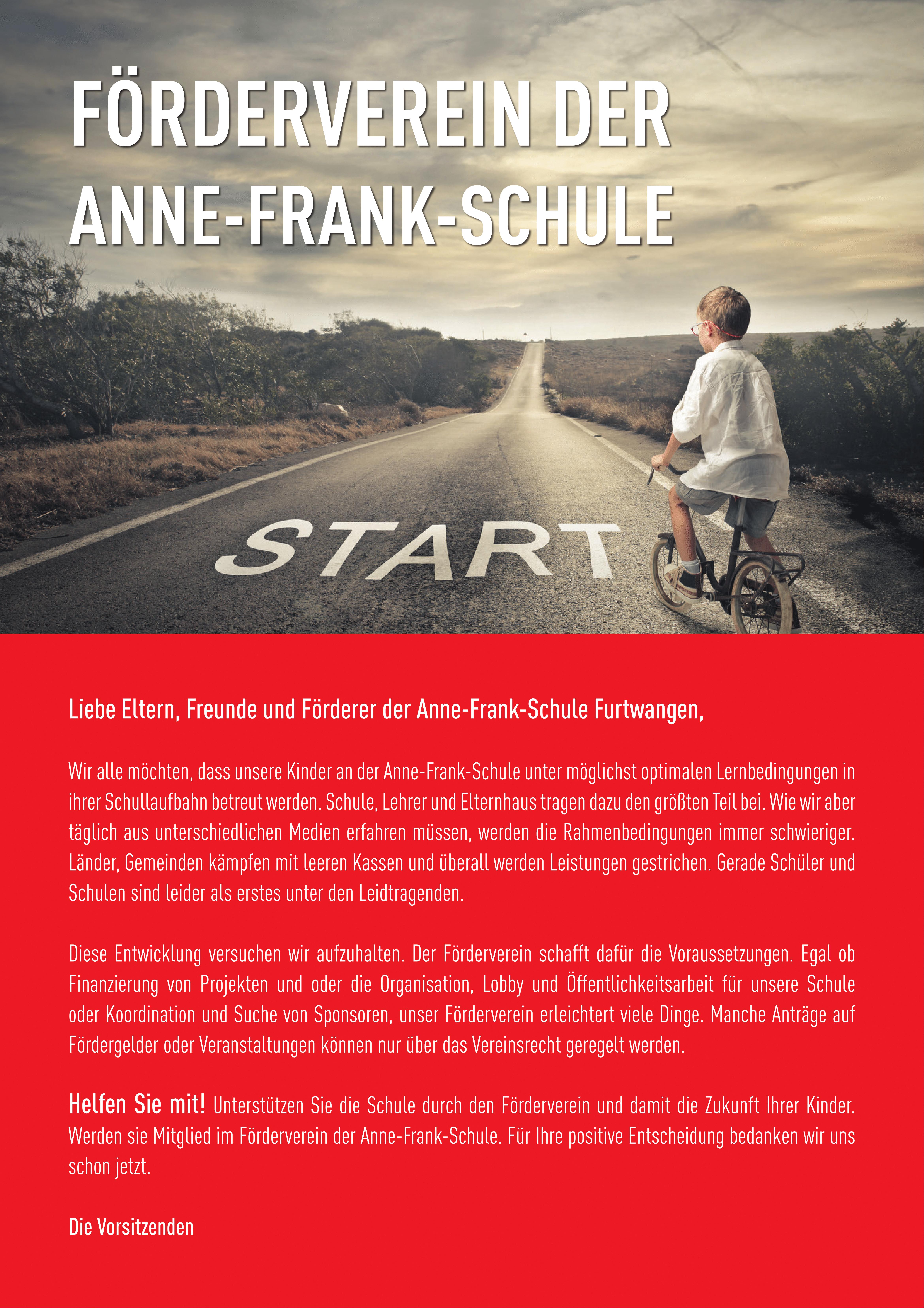 Das Plakat des Fördervereins der Anne Frank Grundschule
